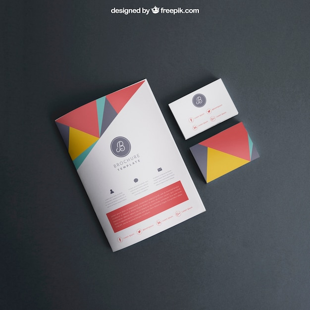 Mockup with cover and business cards Free Psd