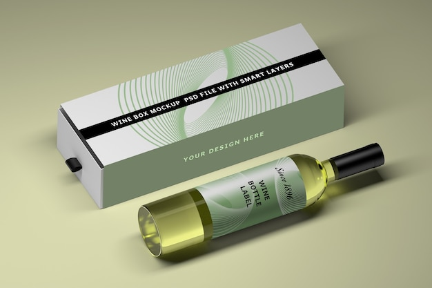 Mockup with glass wine bottle and long box Premium Psd