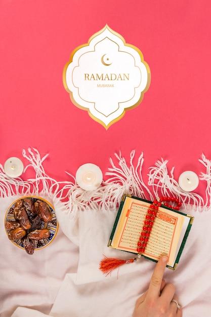Mockup with ramadan concept Free Psd