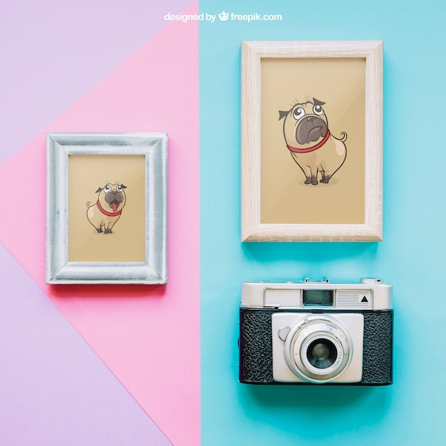 Mockup with two frames and camera Free Psd