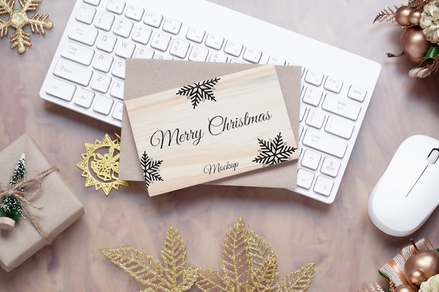 Mockup wood board for christmas new year background. Premium Psd