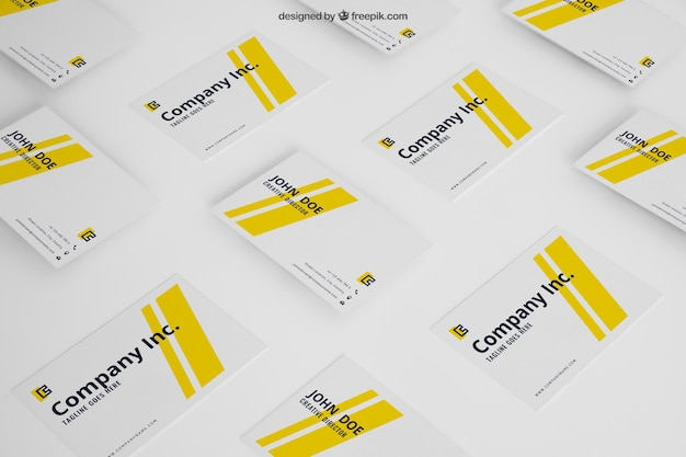 Mockup of yellow business cards Free Psd