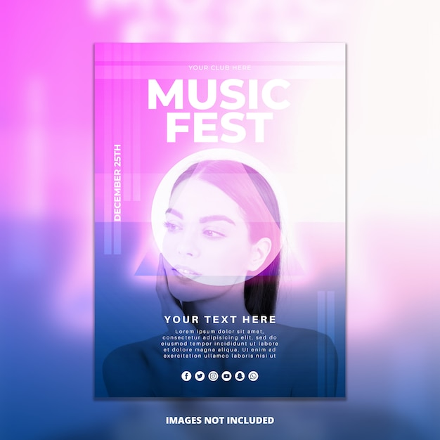 抽象的な音楽祭ポスターmockup 無料 Psd