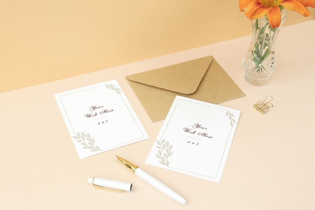 Mockups Invitation Card And Thank You Card On Beige