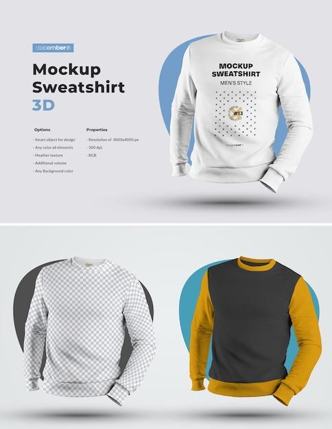 Mockups Mens 3d Sweatshirt. 디자인은 이미지 디자인 (스웨트 셔츠, 소매 및 라벨)을 커스터마이즈하고 모든 요소의 스웨트 셔츠에 색상을 지정하는 것이 쉽습니다. 프리미엄 PSD 파일
