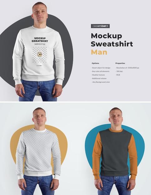 Mockups Mens Sweatshirt. 디자인은 이미지 디자인 (스웨트 셔츠, 소매 및 라벨)을 커스터마이즈하고 모든 요소의 스웨트 셔츠에 색상을 지정하는 것이 쉽습니다. 프리미엄 PSD 파일