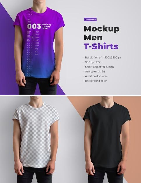 Mockups T-shirts On The Men 's. 디자인은 이미지 디자인, 티셔츠 색상을 사용자 정의하기 쉽습니다. 프리미엄 PSD 파일
