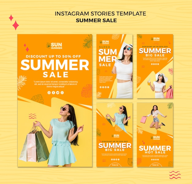 Model girl summer sale instagram stories template Free Psd