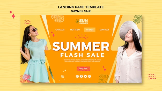 Model girl summer sale landing page Free Psd