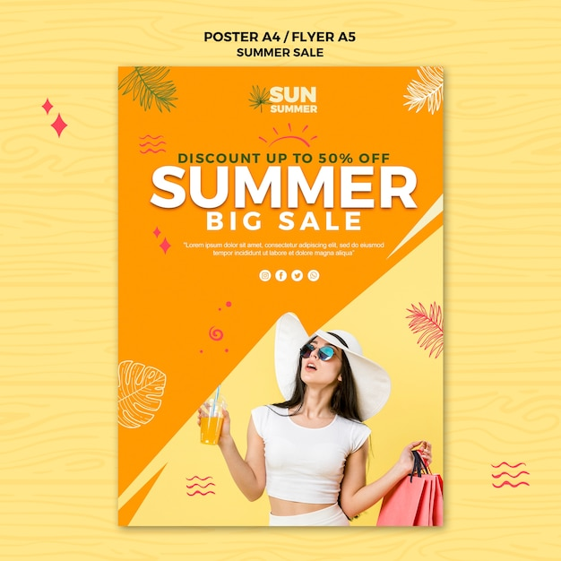 Model girl summer sale poster template Free Psd