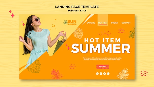 Model girl summer sales ad landing page Free Psd