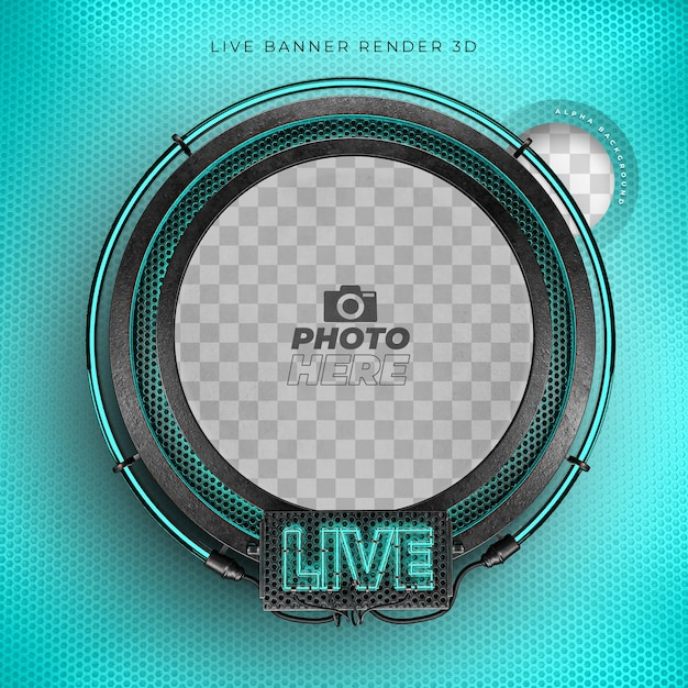 Modern 3d live realistic icon with neon and grid blue Premium Psd