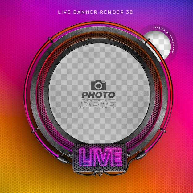 Modern 3d live realistic icon with neon and grid in instagram colors Premium Psd
