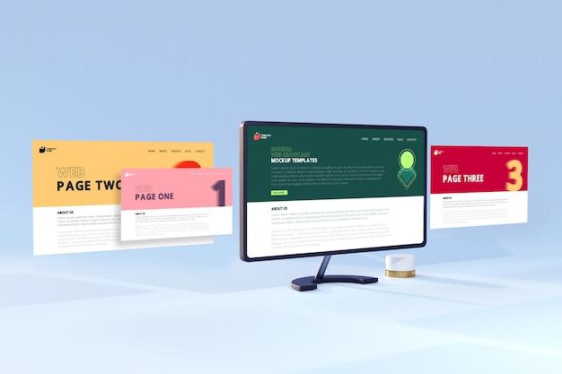 현대 3d 웹 쇼케이스 데스크탑 컴퓨터 화면 이랑 템플릿 프리미엄 PSD 파일