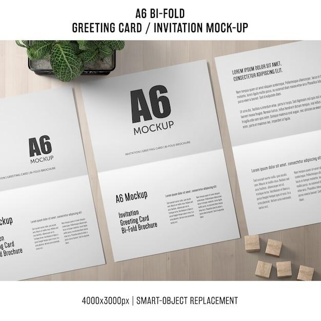 modern a6 bi fold invitation card mockup psd file free download
