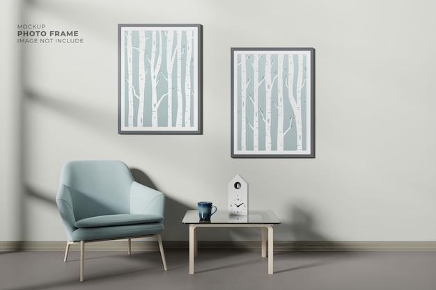 모형 포스터 프레임이있는 현대적이고 단순한 거실 디자인 프리미엄 PSD 파일
