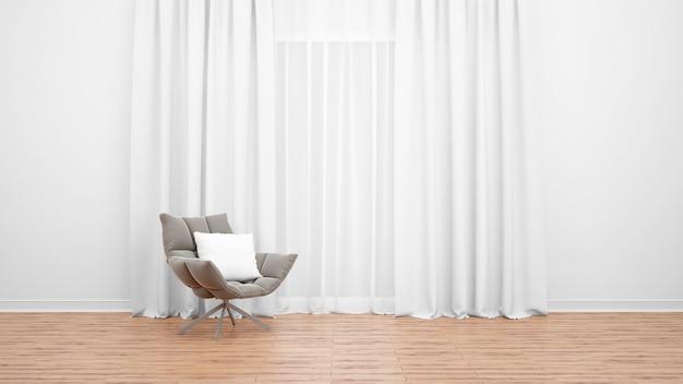Современное кресло рядом с большим окном с белыми занавесками. деревянный пол. пустая комната как минимальная концепция Бесплатные Psd