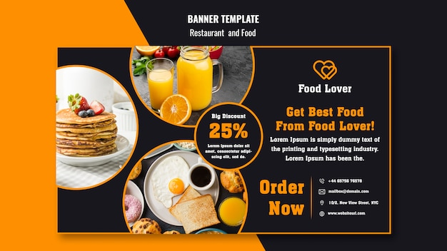 Modern banner template for breakfast restaurant Free Psd