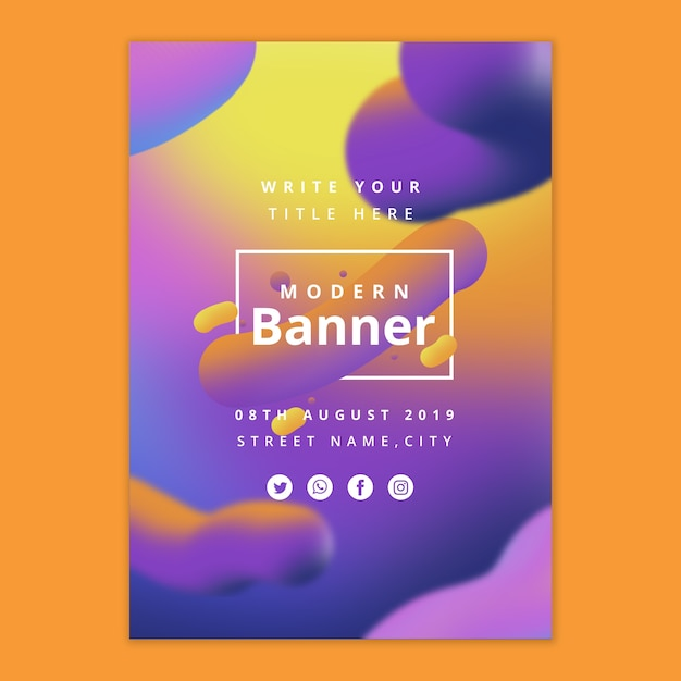 Modern banner template with fluid background Free Psd