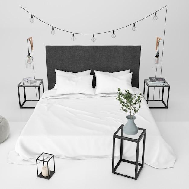 Современная спальня макет с декоративными элементами Бесплатные Psd