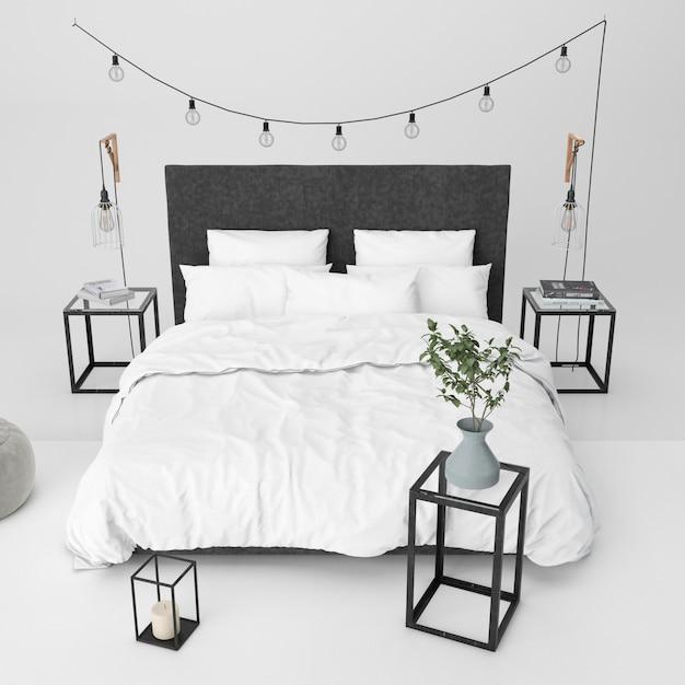 装飾的な要素を持つモダンなベッドルームモックアップ 無料 Psd
