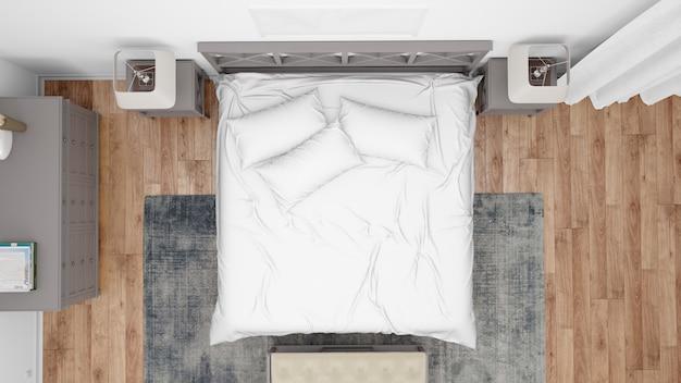 Современная спальня или гостиничный номер с двуспальной кроватью и элегантной мебелью, вид сверху Бесплатные Psd