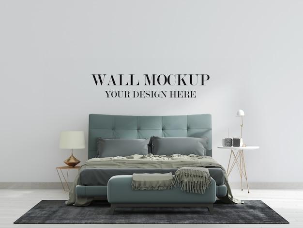 Mockup tường phòng ngủ hiện đại với giường màu xanh lá cây Premium Psd