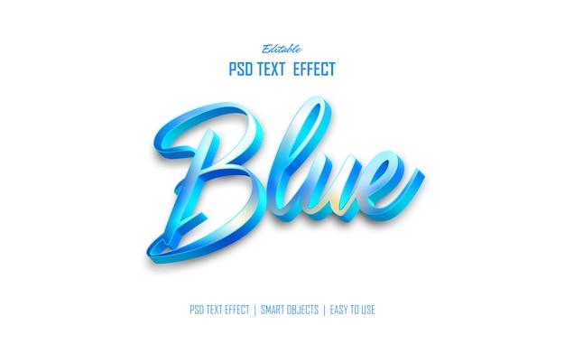 モダンなブルーの3dテキストスタイル効果 Premium Psd