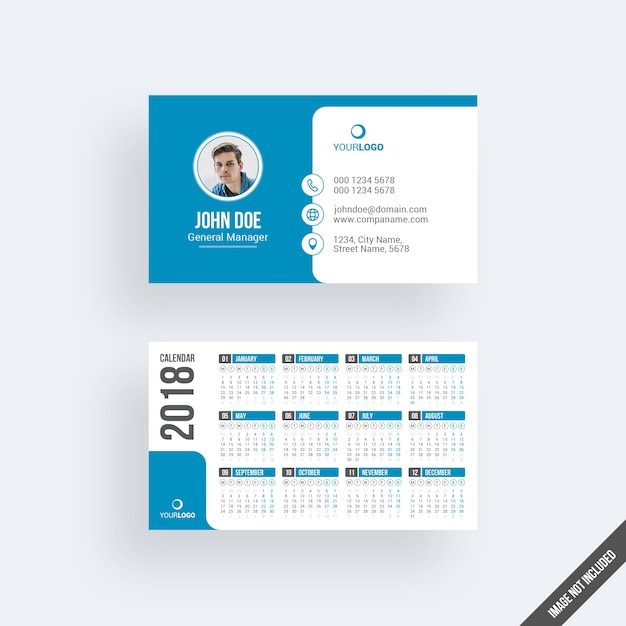 Modern blue business card mockup with calendar Premium Psd