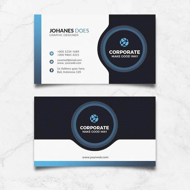Modern blue business card Premium Psd