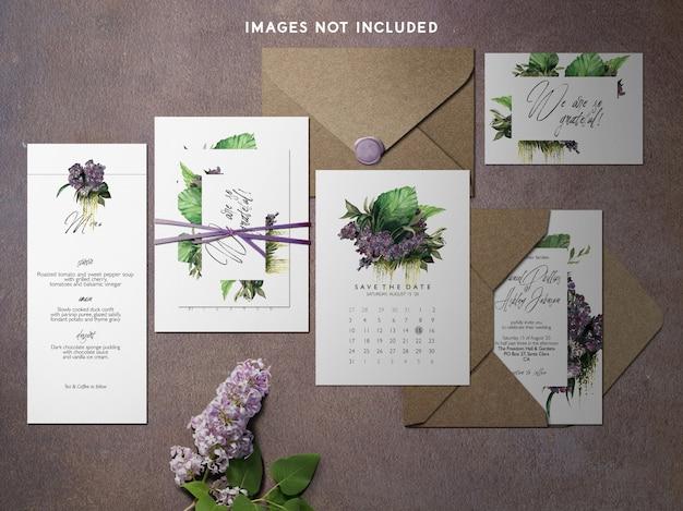 Modern branding identity mockup purple theme Premium Psd