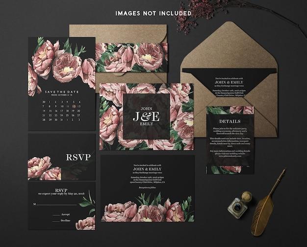 Модерн брендинг identity mockup красно-черная тема Premium Psd