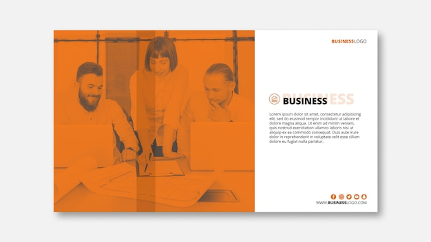 Modern business banner template with image Free Psd