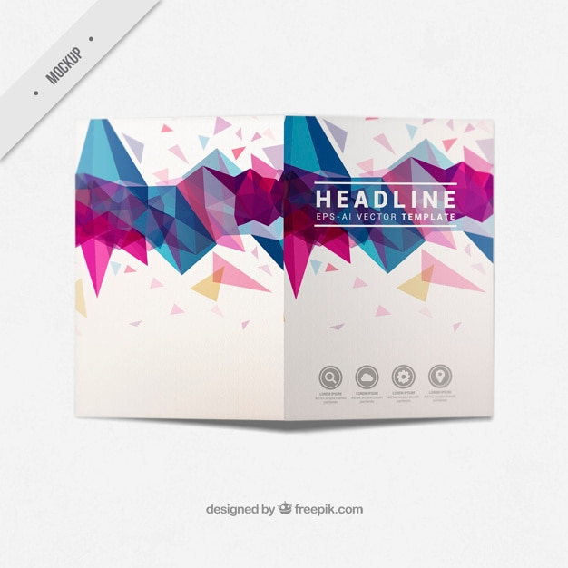 Modern business bi-fold flyer with abstract shapes Free Psd