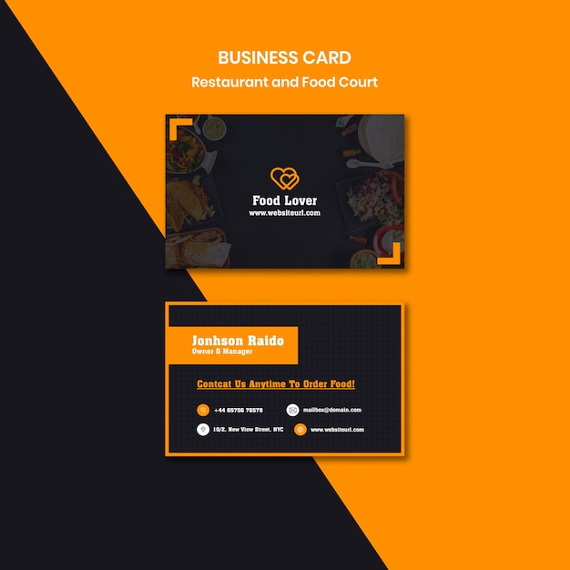 Modern business card template for breakfast restaurant Free Psd