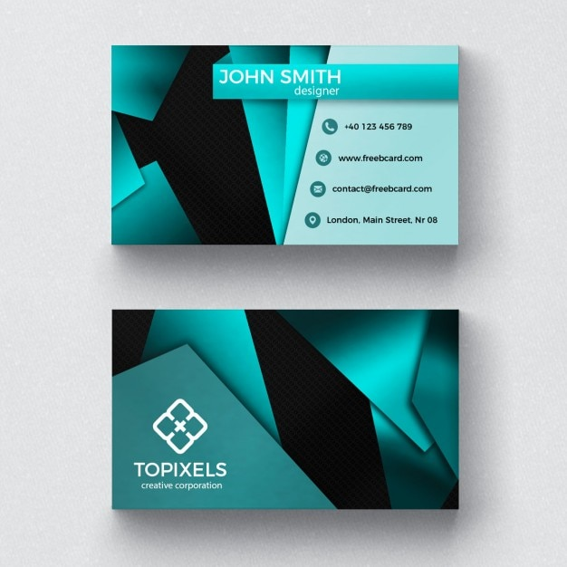 Modern business card with 3d shapes PSD file Free Download