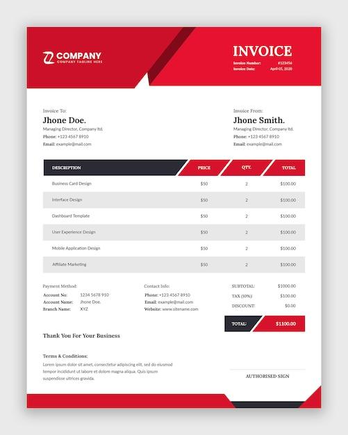 現代のビジネス請求書テンプレートデザイン Premium Psd