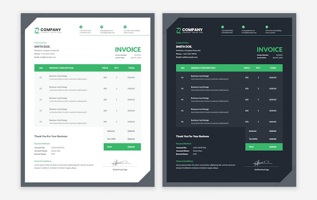 Modern business invoice template with dark and light variation Premium Psd