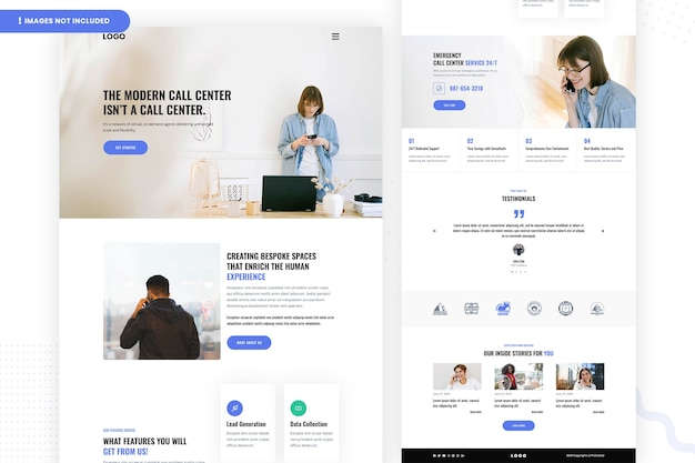 Дизайн страницы веб-сайта современного call-центра Premium Psd