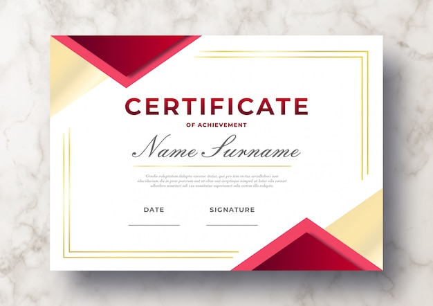 Modern certificate of achievement psd template Free Psd