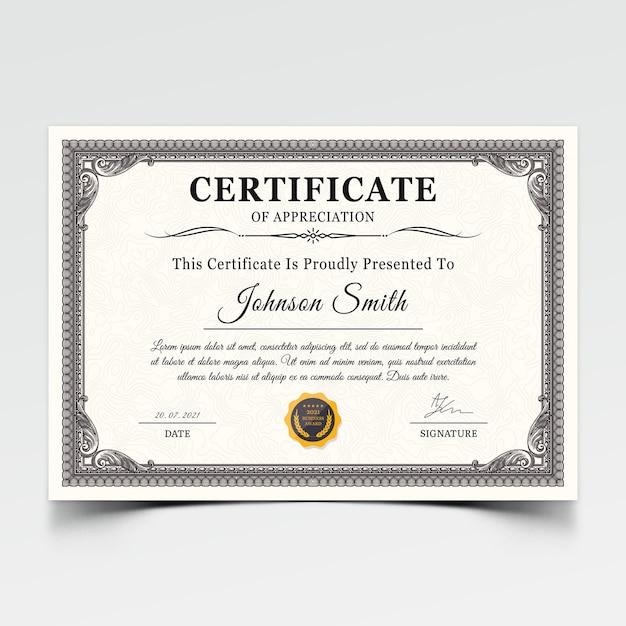 Modern certificate award template Premium Psd