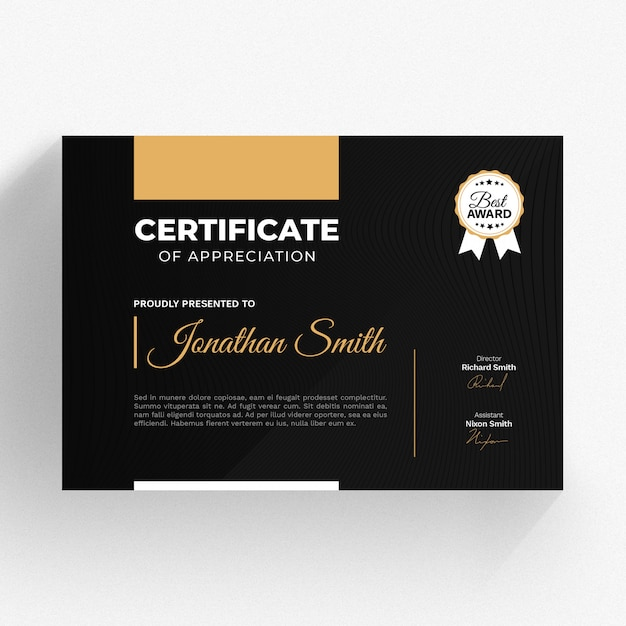 Modern Certificate Template PSD File
