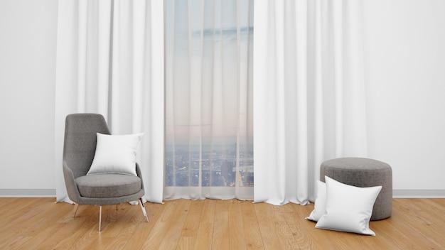 Современный стул рядом с большим окном с видом на город Бесплатные Psd