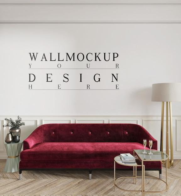 モックアップ壁付きのモダンなクラシックリビングルームのデザイン Premium Psd