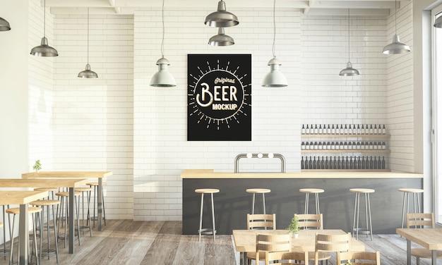 Modern coffee shop poster mockup 3d rendering Premium Psd