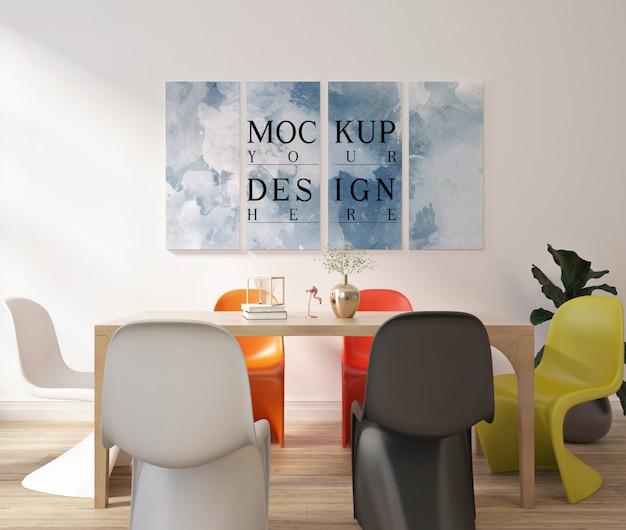 Modern contemporary dinningroom design with mockup frame poster Premium Psd