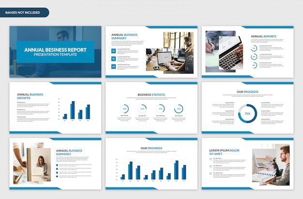 Modern corporate annual business report showcase presentation slider template Premium Psd