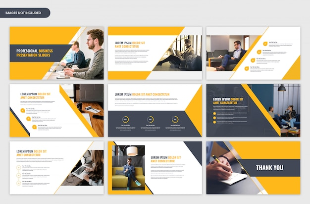 Modern corporate business presentation yellow slider template design Premium Psd