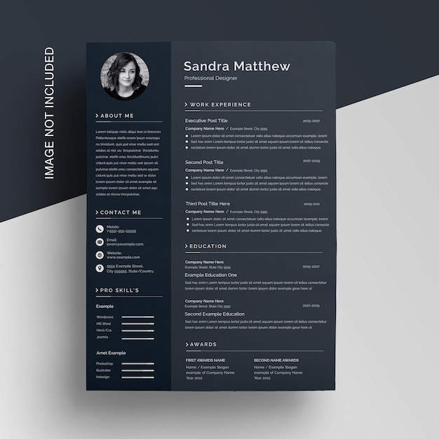 Modern corporate dark black curriculum resume template Premium Psd
