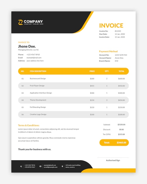 Modern corporate  yellow business invoice template Premium Psd